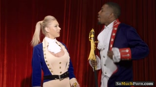 Busty blonde Katie Morgan interracialed