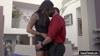 Huge titted shemale gets her ass ripped