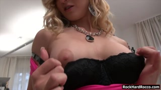 Two luscious women sucked off a big cock