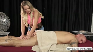 Sexy hot blonde sexy masseuse Cali gets a warm cum
