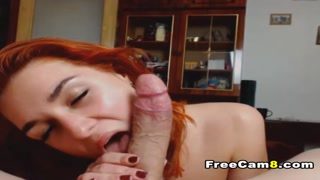 Beautiful Redhead Babe Giving an Intense Blowjob