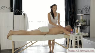 Teen masseuse banged on massage table
