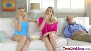 Lesbian Sierra seduces stepmom Cory
