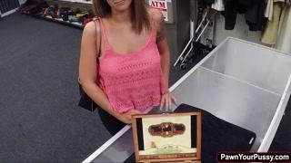 Brunette babe banged by pawnshop guy