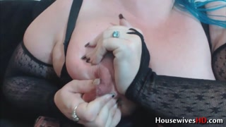 Blue haired lactating BBW in fishnet stockings