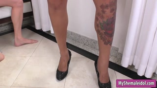 Booby shemale and nasty guy anal fucking