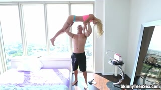 Blonde teen babe gets railed on the bed
