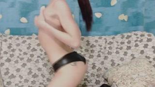 Amateur Brunette Babe Masturbating with Dildo