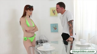 Tight redhead teen seduces her stepbro