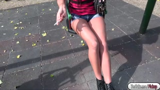 Kristina fucked in the public for cash