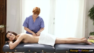Masseuse fucks clients ass with big toy