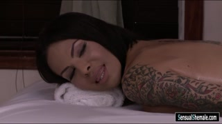 Busty tattooed shemale Ts Foxxy analyzed