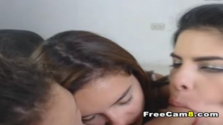 Three Hot babes in Reverse Gangbang Blowjob