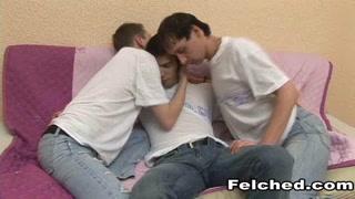 Awesome Threesome Gay Cum Felching