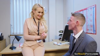 Busty blonde boss Angel Wicky pounded