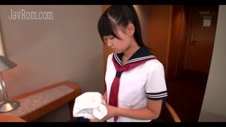 Japanese schoolgirl 3P bukkake