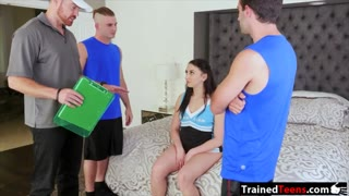 Mandy Muse slammed by three horny dudes