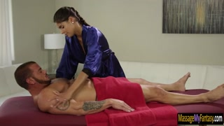 Skinny latin masseuse pounded by client