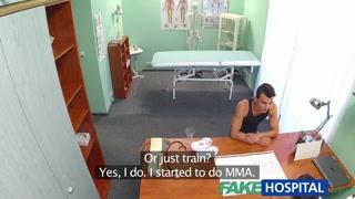 FakeHospital Lovable medical nurse massages patient before suck