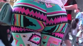 Extremely Large ass-hole big woman latina in colorful leggings