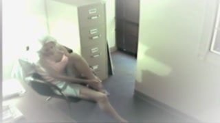 Grimy secretary jerk off in exactly the office