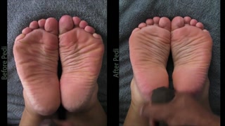 Double Cum Shots Load on WIDE Feet - Side-by-Side.