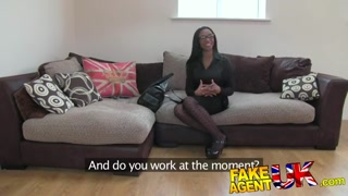 FakeAgentUK Kinky Black hotty shakes complete asshole for agent