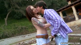 Big Chested tatted Paris Kennedy get fucked outdoor