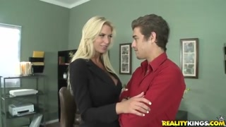 Gloreous blond Brooke ending her workday with heavy boners