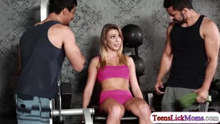 Nina Dolcie licks Zoeys pussy in the gym