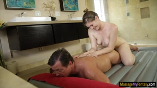 Long legged masseuse pounded by client