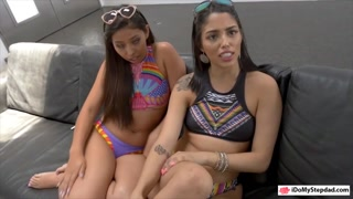 Two brunette teen babes sharing daddy