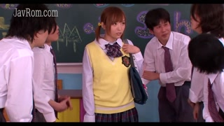 Shy japanese teen schoolgirls blowjob bukkake