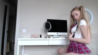 Naughty Blonde Schoolgirl Sucks a Dildo Then Shoves it up her Ass!