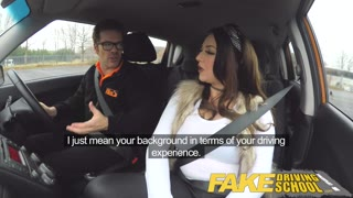 Faux Driving University big titted jailbird takes teacher on a wild ride!