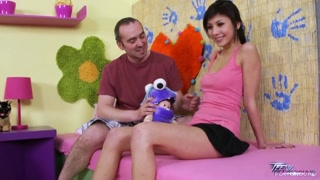 Chinese cuteness with pefect funbags persuaded by older instructor to have sex