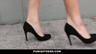 PunishTeens - Engaging Blond Model Strapped Up & Dominantly Screwed