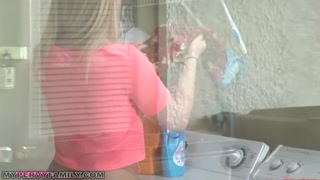 Step Sister Sierra Nicole Will Get Cream pie on Top of Washer by Older Brother!