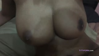Cumshots on my large natural Chinese knockers