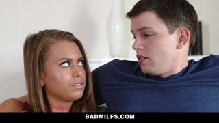 BadMilfs - Huge Chested Milf Teaches Son How To Get It On With