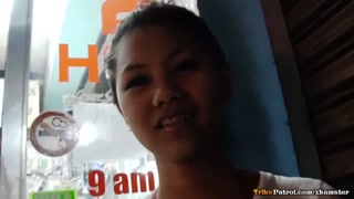 Lean Filipina teen with awesome braces pinched