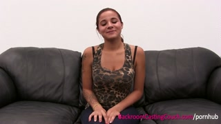 EXCLUSIVE Full Length Flick - Incredible Audrey on Backroom Trying-out Sofa