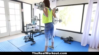 TheRealWorkout - Huge Boobed Teen Stretched Out By Dad\'s Mate